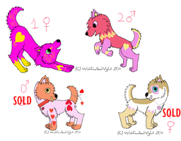 Valentine Adoptable Pups by WolfcalledNight