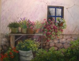cottage with flowers-1 by Hydrangeas