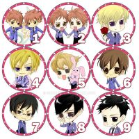 Ouran chibi button set by siguredo