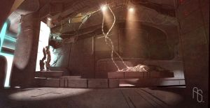 Lab Interior, Tethered Islands by aaronsimscompany