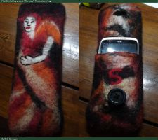 The Lady - wet felted Phone-sleeve by Trollsngoblins