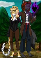 Wolf and Leopard for Arazrael by kitfox-crimson