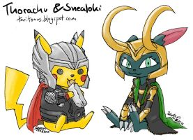 Thorachu and Snealoki by TariToons