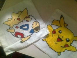 Togepi and Pikachu Cross stitch by Bydrassil
