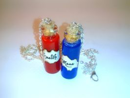 Health and Mana Potion Vial Necklaces 2ml by Euphyley