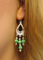Silver and green earrings by jneia
