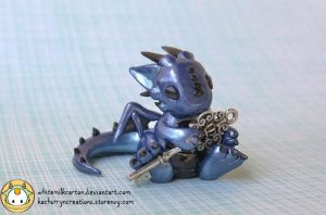 Blue Dragon with Key by whitemilkcarton