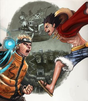 Naruto VS Luffy by GrayAppleWantsHerBB