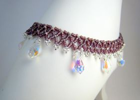 Amethyst Lace Anklet by BeadfulStrings