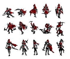 Red Hunter Silhouette Sheet by AngelaSasser