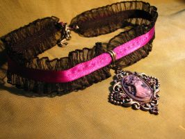 Purple Cameo Choker by Muffinettes-crafts