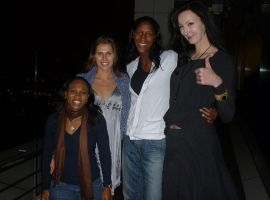 Tall Basketball player Ekaterina Lisina with team by lowerrider
