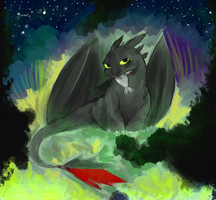 Toothless - fast drawing by AtomicKitten13