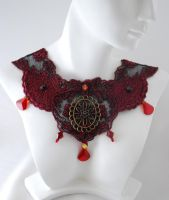 Red Gothic Lace Choker by johannachambers