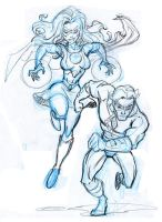 Commission Rough 4- OC Superheroes by tombancroft