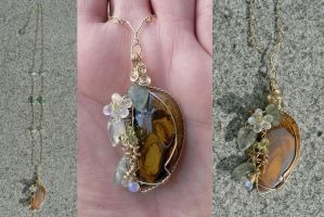 Spring Flowers Pendant by magpie-poet
