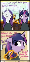 Rarity vs. Amnesia 2 by Ruby-Sunrise
