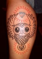 owl diamond tattoo by b0dys0ng