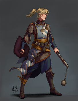Concept: Cleric of Sarenrae In Training by asphillipsart