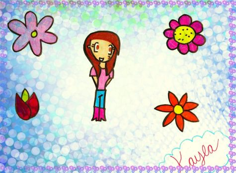 KAYLA SURROUNDED BY FLOWERS by XCartoonLoverX