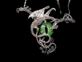 Large Wire Wrapped Dragon Eye Necklace - Green by LadyPirotessa