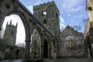 Heptonstall church and church ruin by evionn
