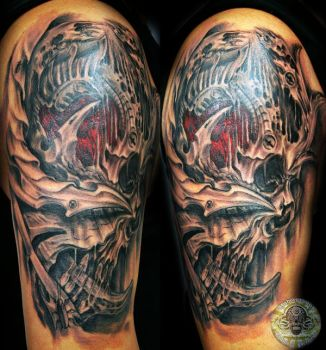 Biomech Skull Face by 2Face-Tattoo