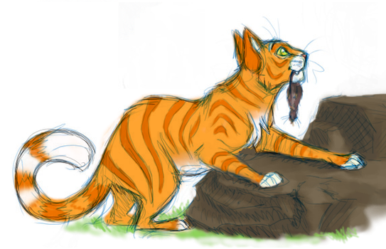 Fireheart caught a mouse by stuffed