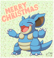 Nidoqueen shouts Merry Christmas by pichu90