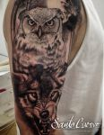 Owl and Wolf Tattoo by Chris Jakubowski by santocuervotattoo