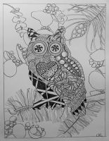 Owl with Eucalyptus and Pine by mybuttercupart