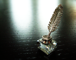 Crystal Feather and Ink Bottle by Feyon