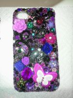 Custom Bling Iphone 4 Cover Goth Spider by Amyatpebble