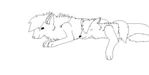 free wolf couple line art by shaboopytycoon