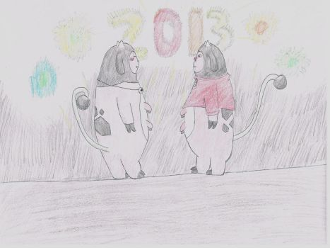 Miltank Buddies in New Year's Eve by Druddy