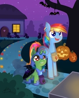 Sisters trick-or-treating by Reporter-Derpy
