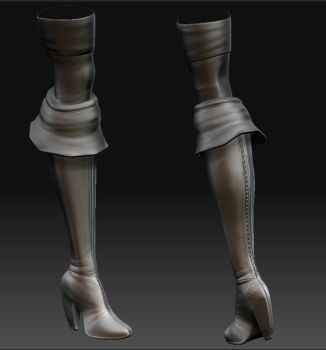 Zbrush  WIP  - Boots by Naruto-De