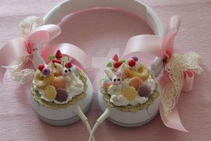 Kawaii Bunny Doughnut Head Phone by AngelicLight100