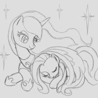 Commission: Cuddly Luna and Fluttershy by The-Paper-Pony