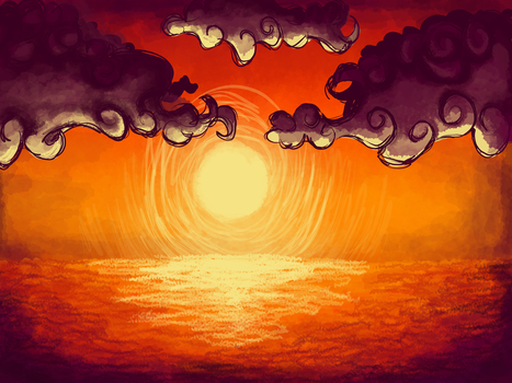The ocean sunset by TheDeviantArtist07v