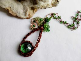 Green glass and copper pendant by Mirtus63