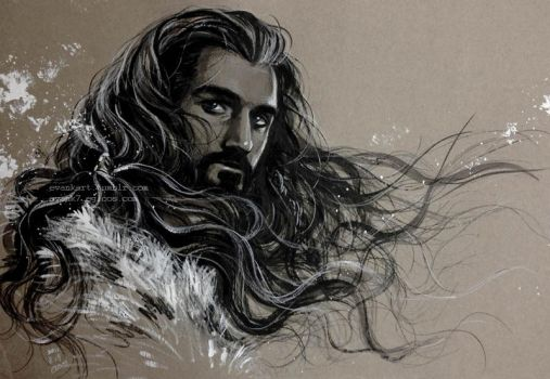 Thorin Oakenshield with wind by evankart