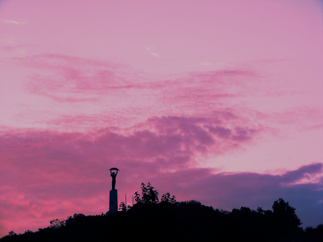 Pink sky at night by rachwillows