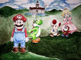 Some of the Mario crew chilling by Feral-Maiden
