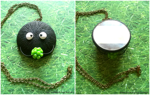 Handmade Polymer Clay Soot Sprite Mirror Necklace! by mattiemazingcharms