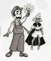 Luigi and Peasley by happychild