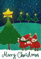 Christmas Card- deadpuppets by childrensillustrator