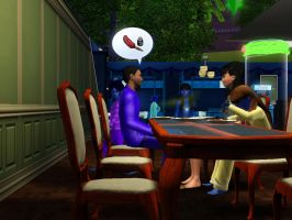 Sims 3 - Eugene talks to Kitty about music career by Magic-Kristina-KW