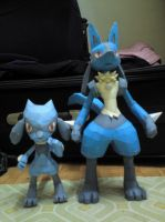 Lucario and Riolu by riolushinx
