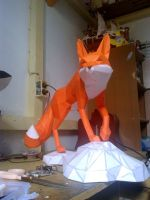 red fox papercraft wip by nandablank